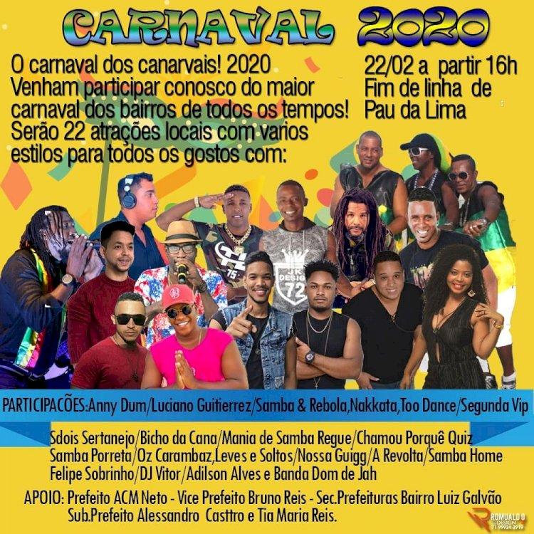 Carnaval de Pau da Lima vai ter atrações regionais no Sábado.
