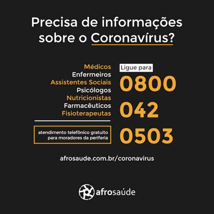 Afrosaúde lança rede de apoio à população periferica contra o Coronavírus.