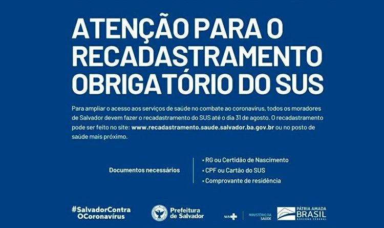 Prefeitura de Salvador alerta sobre recadastramento obrigatório do SUS.